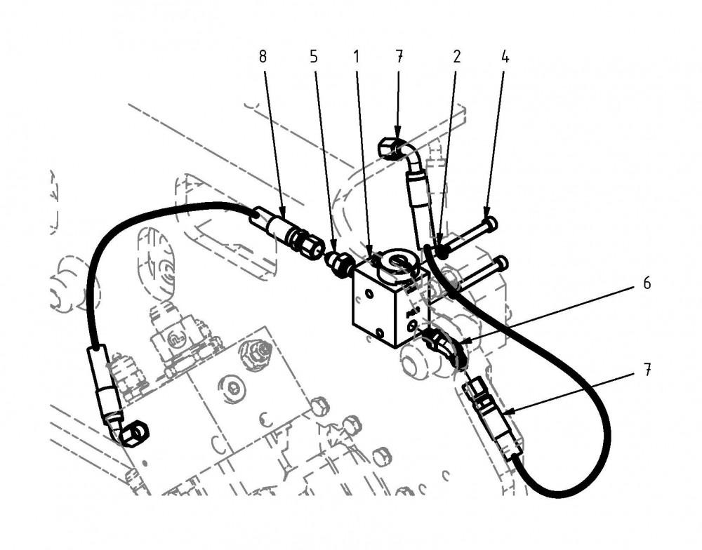 Řídicí blok a kabely pro napnutí řetězu