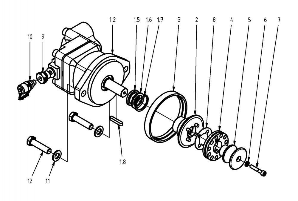 Motor pily, rozpěrka, řetězové kolo, lapač řetězu